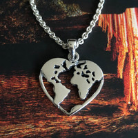 Zilveren ketting Love World