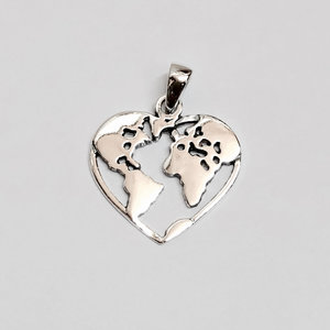Zilveren Love World hanger