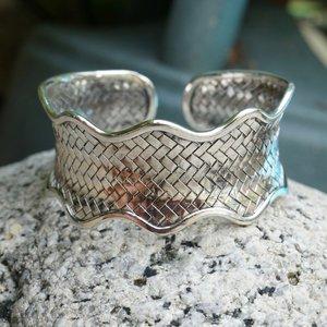 Zilveren klemarmband braided wave