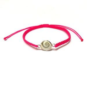 Bedel armbandje Shiva shell fluorroze - 925 zilver