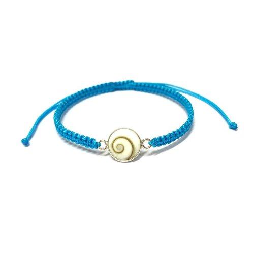 Bedel armbandje Shiva shell turquoise - 925 zilver
