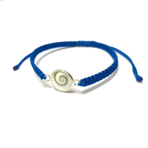 Bedel armbandje Shiva shell blauw - 925 zilver