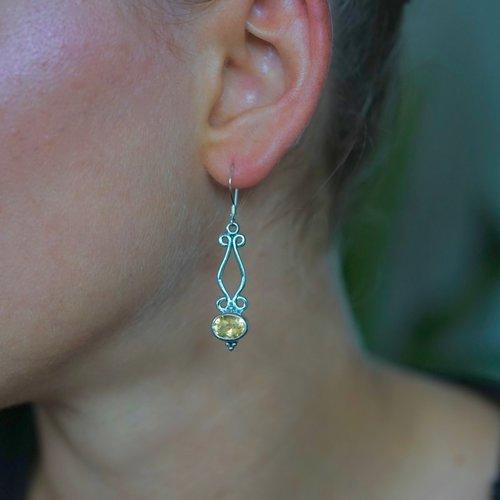 Zilveren oorbellen Citrien