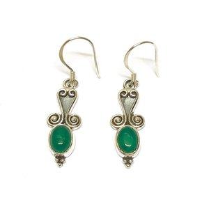 Zilveren oorbellen Green Onyx