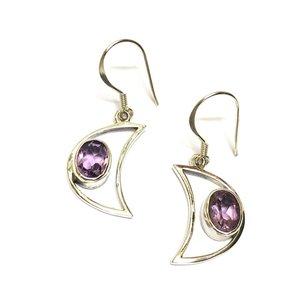 Zilveren oorbellen Amethist