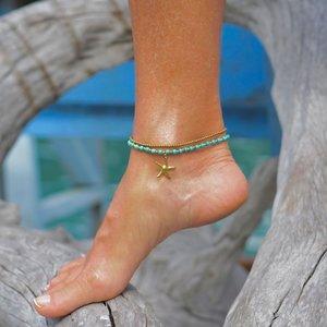 Enkelbandje turquoise zeester