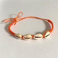 Enkelbandje schelpjes oranje