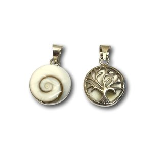 Zilveren hanger Shiva shell / Tree of life