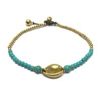 Enkelbandje schelpje Turquoise