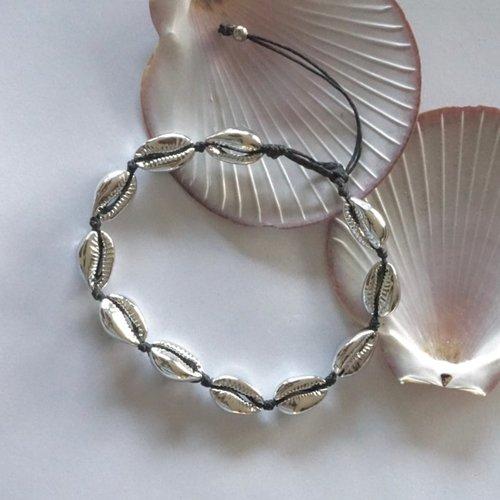 Enkelbandje schelpjes zilverkleur