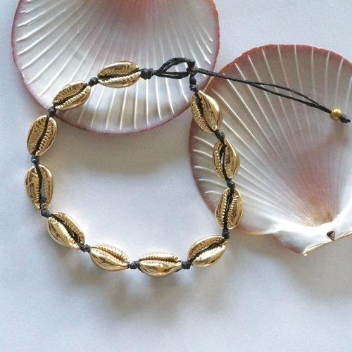 Enkelbandje schelpjes goudkleurig