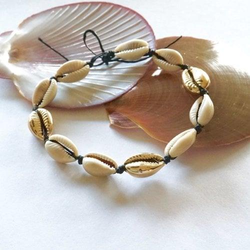 Enkelbandje schelpjes naturel goudkleurig