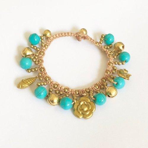 Bohemien armbandje turquoise