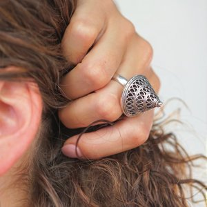 Zilveren BOHO ring 'King'