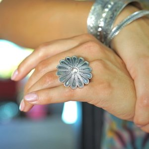 Zilveren BOHO ring 'Flower'