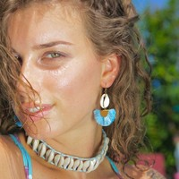 Ibiza style shell oorbellen blauwe tassel