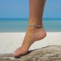 Zilveren enkelbandje Seashell