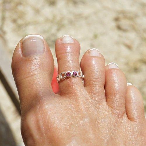 Teenring / vingertop ring SHINY PINK