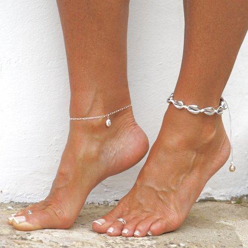 Enkelbandje schelpjes zilverkleurig