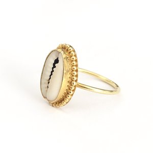 Goldplated ring Cowrie shell