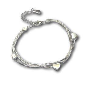 Zilveren armband Triple heart