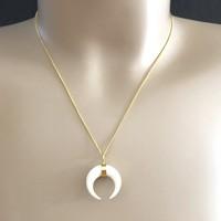 Goldplated ketting Crescent bone moon