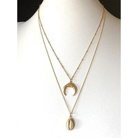 Goldplated ketting Crescent moon