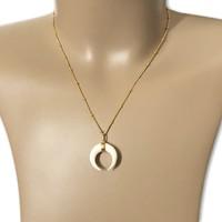 Goldplated ketting Crescent moon bone