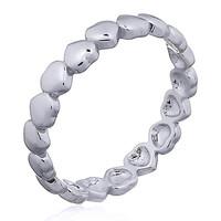 Zilveren ring stacked heart