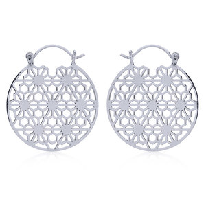 Zilveren oorbellen Flower of life