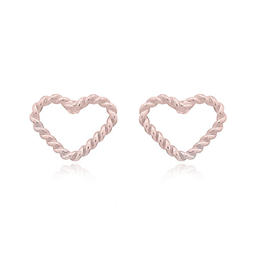 Rosé goldplated oorbellen Lovely heart