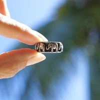 Zilveren ring Olifant