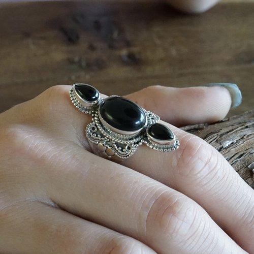 Zilveren ring Black Onyx Monique