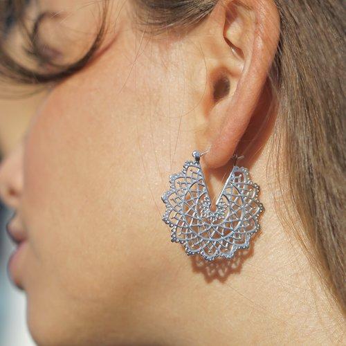 Zilveren Mandala oorbellen