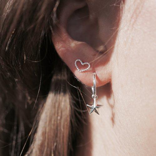 Zilveren oorbellen Lovely heart