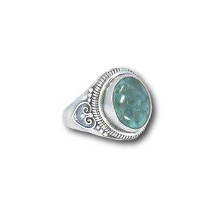 Zilveren ring Turquoise maat 8
