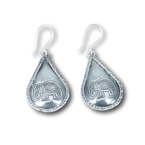 Zilveren Boho oorbellen olifant