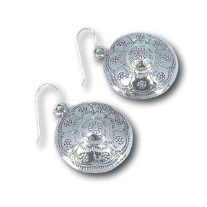 Zilveren oorbellen Boho flower