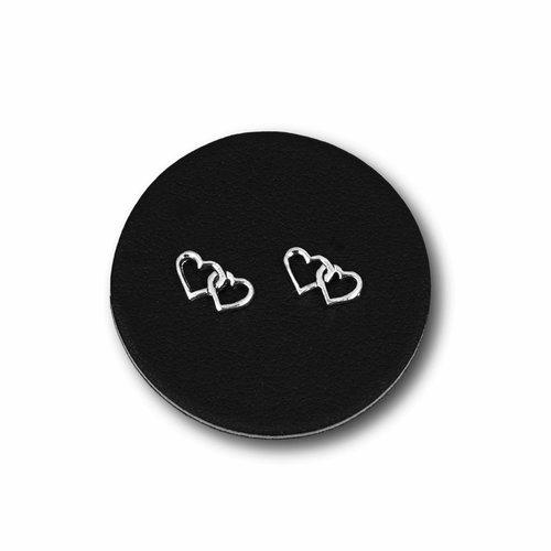 Zilveren oorknopjes Double love