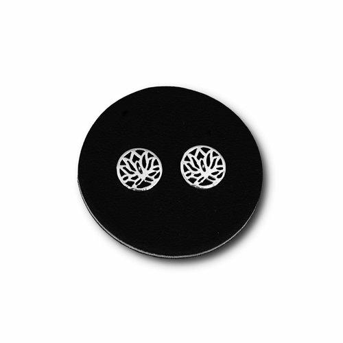 Zilveren oorknopjes Lotus