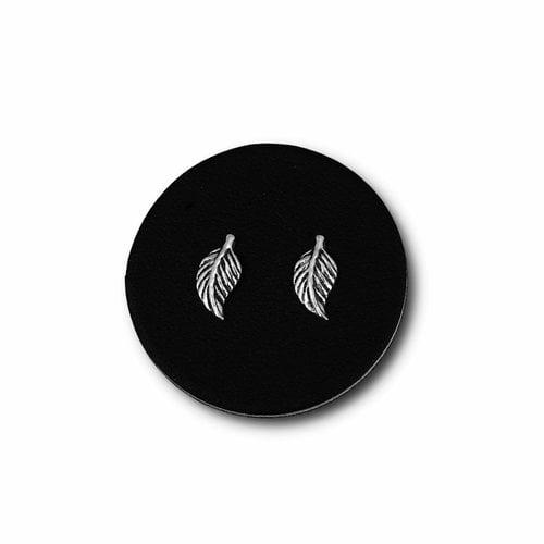 Zilveren oorknopjes Leaf