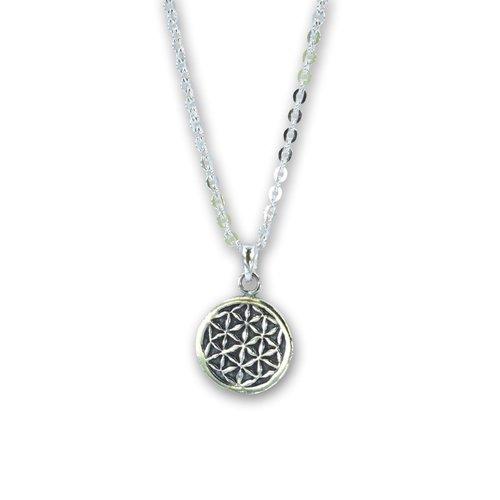 Zilveren ketting Flower of life
