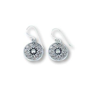 Zilveren oorbellen Flower mandala
