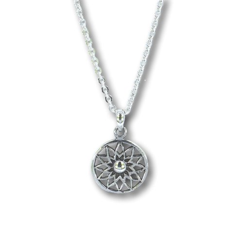 Zilveren ketting met Flower mandala