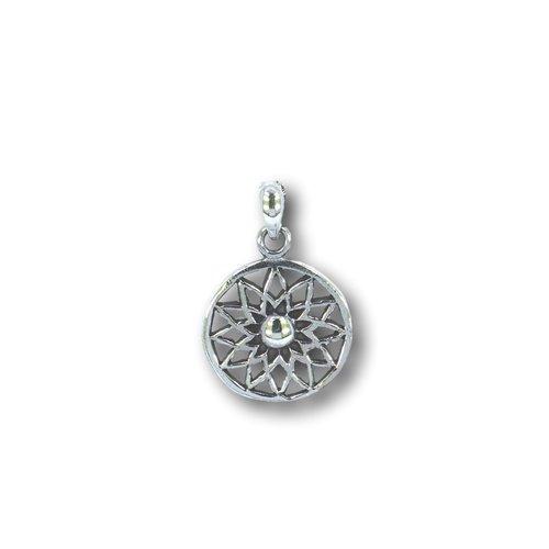 Zilveren hanger Flower mandala