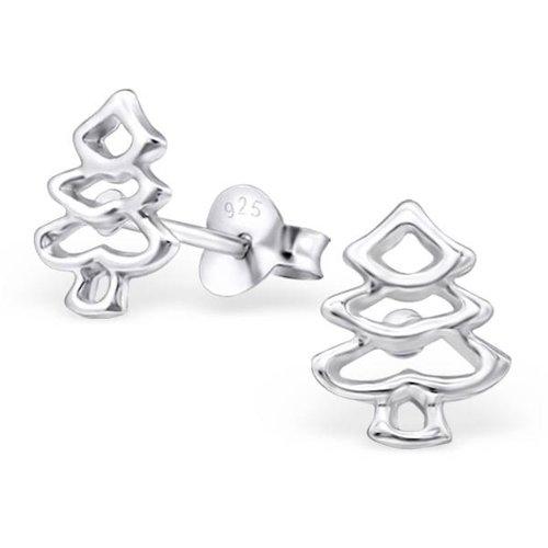 Zilveren oorknopjes Kerstboom