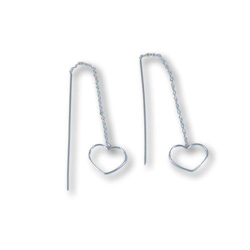 Zilveren ear threader Hart