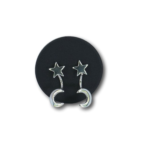 Zilveren earjacket Star and Moon