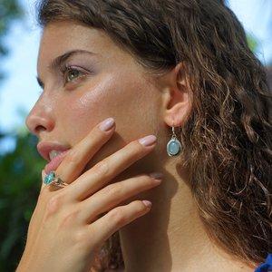 Zilveren oorbellen Chalcedoon