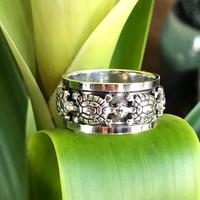 Zilveren ring spinning Schildpad